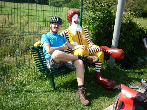 I met my good old friend Ronald sitting on a bench along the Bulgarian highway (yes we cycled on the highway).