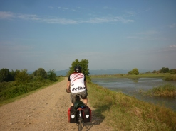 Cycling along lake Kerkini, where we saw flamingoes and pelicans