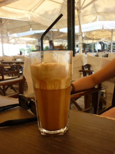 Frappe, super sweet and too many of them and you start spacing your balls out, but hey, this national drink is good :D