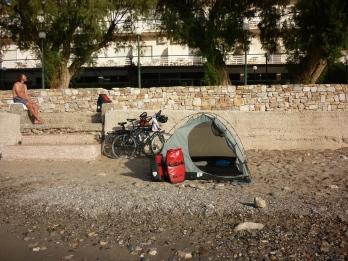 Our campsite in Anavyssos